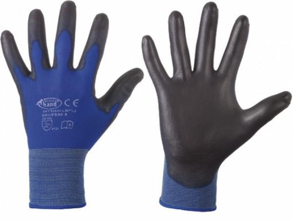 Feinstrickhandschuh Nylon blau/ schwarz