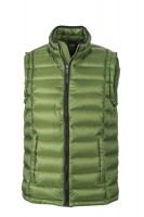 Men's Quilted Down Vest, Westen, jungle-green/black